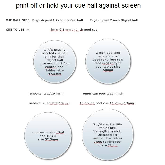 take 3 cue ball sizing chart